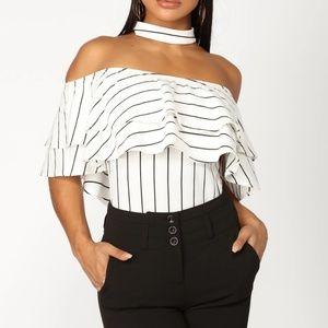 Striped ruffle bodysuit